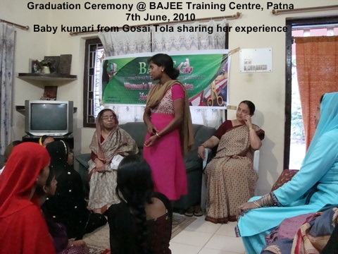 Baby Kumari from Gosai Tola sharing her experience as a student @ BAJEE training centre, Patna