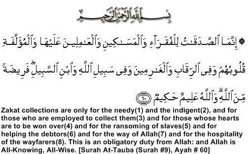 Quran, Surah Tauba (Surah#9), Ayah # 60