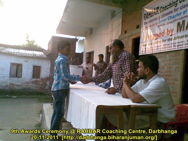 9th awards ceremony @ Rahbar Coaching Centre, Darbhanga, 20th Nov 2011