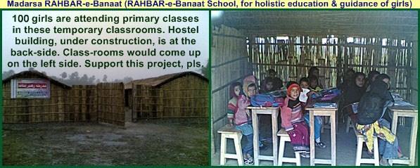 Madrasa RAHBAR-e-Banat's temporary classrooms