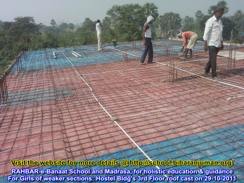 RAHBAR-e-Banat Roof Slab of 3rd storey being cast on 29th Oct 2011